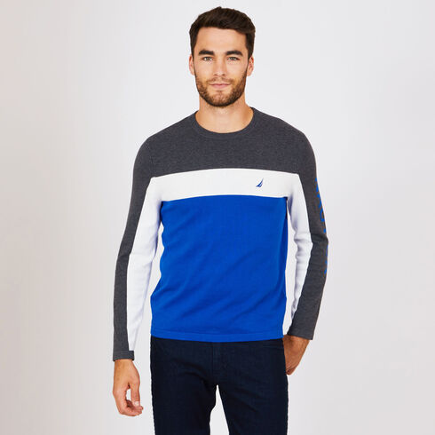 Colorblock Crewneck Sweater - Bright Cobalt