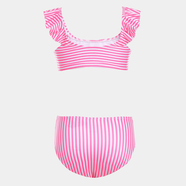 GIRLS' STRIPED RUFFLE-ACCENTED BIKINI SWIMSUIT (8-20),Lt Pink,large