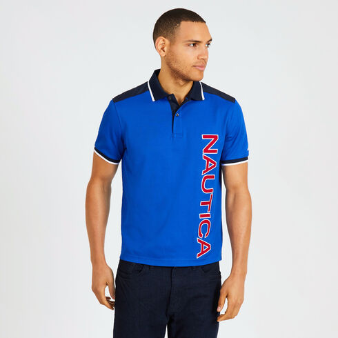 Short Sleeve Woven Trim Logo Classic Fit Polo - Bright Cobalt