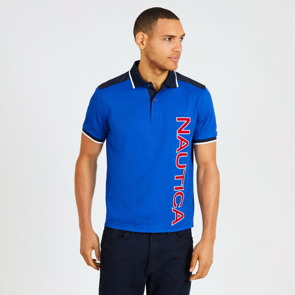Classic Fit Tech Polo with Vertical Logo - Bright Cobalt