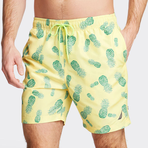 "8"" SWIM TRUNK IN PINEAPPLE PRINT - Sunshine Pantone"