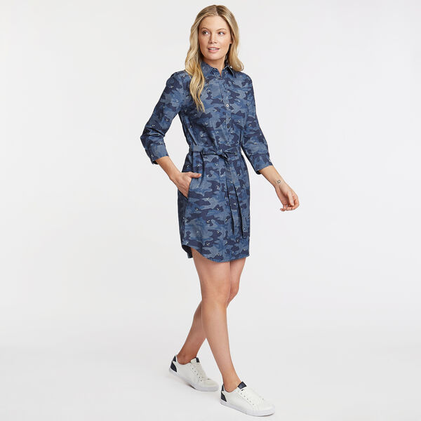 Camo Print Chambray Shirtdress - Deep Sea