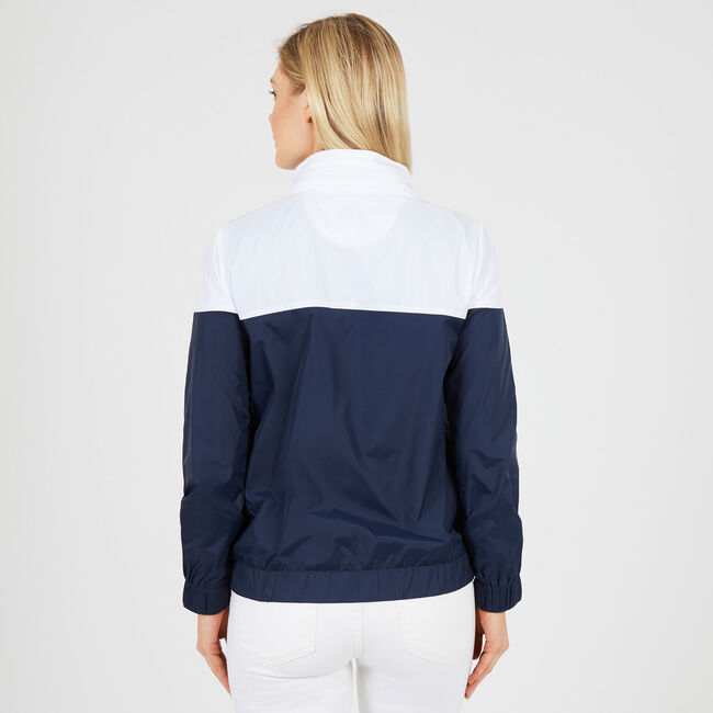 Colorblock Windbreaker Jacket ,Deep Sea,large