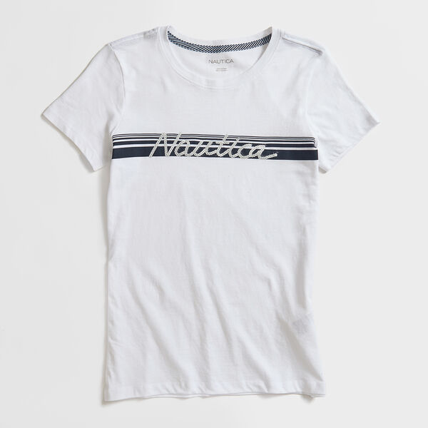 STRIPE SEQUIN LOGO T-SHIRT - Bright White
