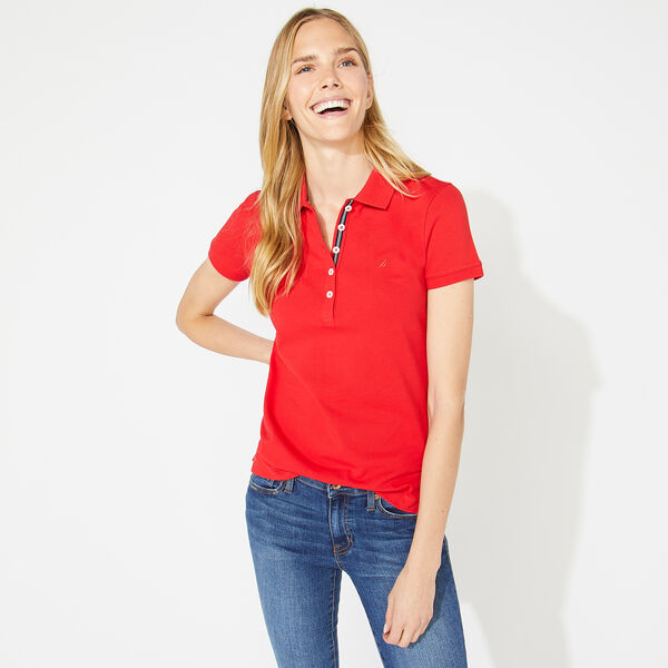 CLASSIC FIT POLO SHIRT WITH CHAMBRAY BACKED COLLAR - Tomales Red
