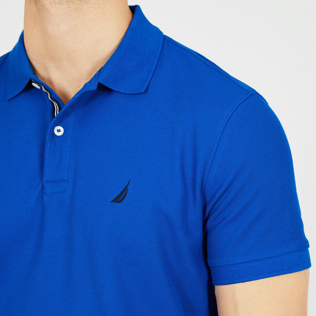 Classic Fit Performance Mesh Polo,Bright Cobalt,large