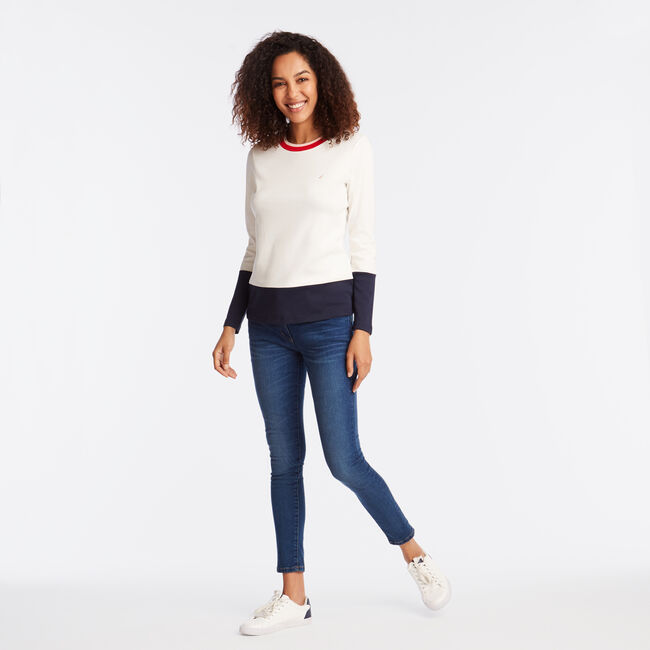 LONG SLEEVE COLORBLOCK TEE,Marshmallow,large