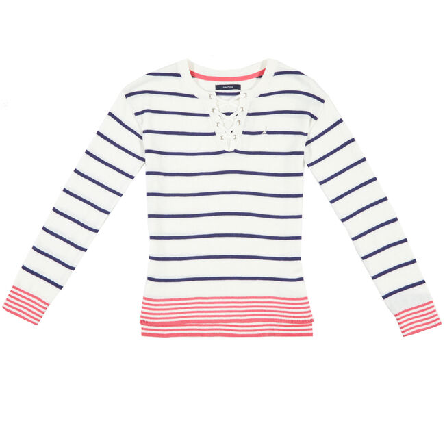 Girls' Lace-Up Striped Sweater (8-16),Bright White,large