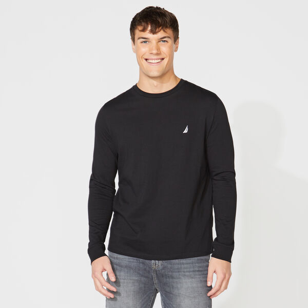 CREW NECK LONG SLEEVE TEE - True Black