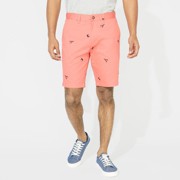 "10"" SLIM FIT CRAB AND LOBSTER PRINT SHORT - Spiced Coral"