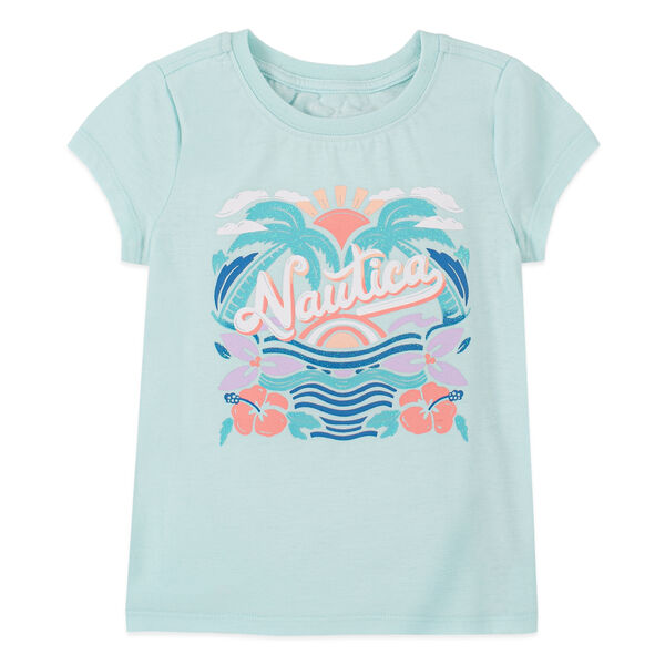 LITTLE GIRLS' GLITTER-ACCENTED FLORAL GRAPHIC T-SHIRT (4-7) - Limoges