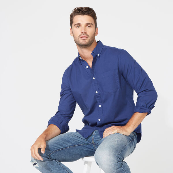 Long Sleeve Classic Fit Solid Oxford Shirt - J Navy