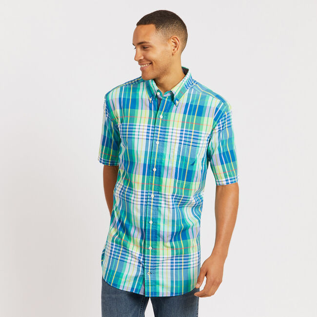 Big & Tall Short Sleeve Plaid Classic Fit Shirt,Nile,large
