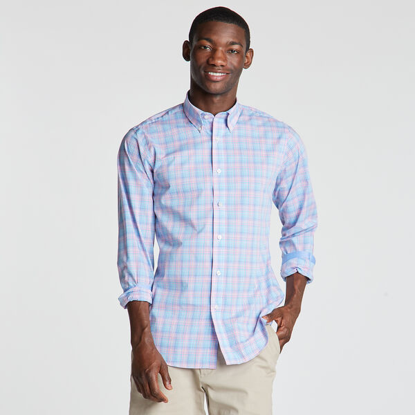 Classic Fit Non-Iron Shirt in Micro Plaid - Indian Summer