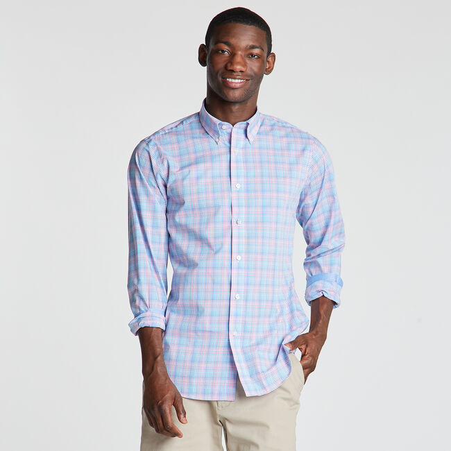 Classic Fit Non-Iron Shirt in Micro Plaid,Indian Summer,large