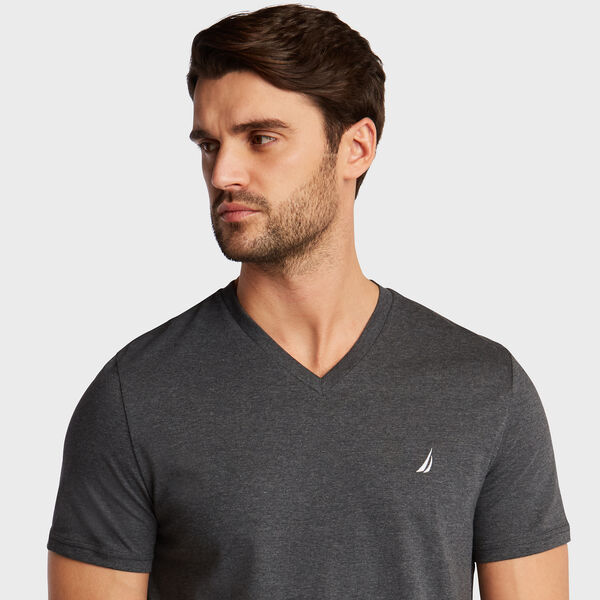 HEATHERED V-NECK T-SHIRT - Charcoal Heather