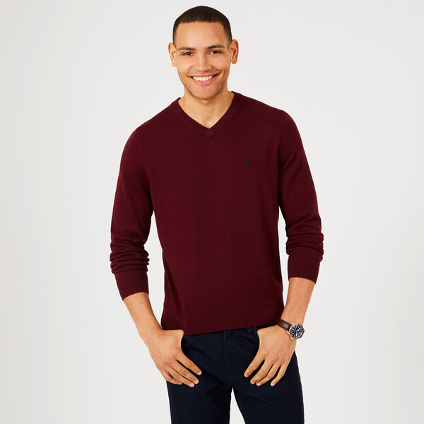 Big & Tall Jersey V-Neck Sweater - Royal Burgundy