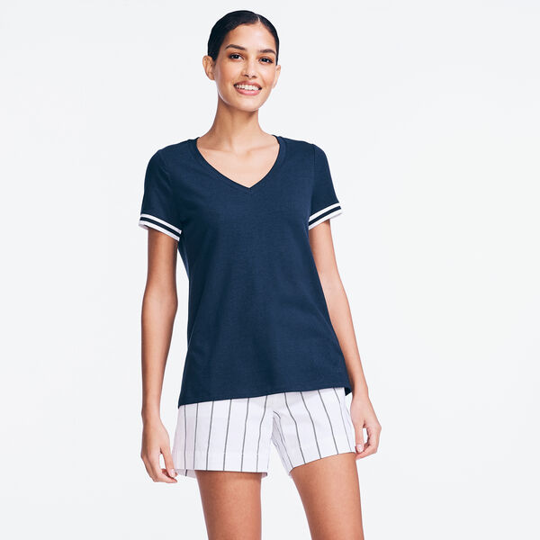 RIB-TRIM V-NECK TOP - Stellar Blue Heather