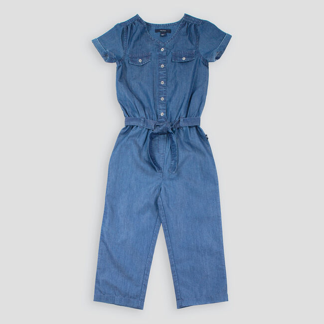 GIRLS' WOVEN CHAMBRAY JUMPSUIT (8-20),Clear Sky Blue,large