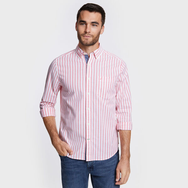 Classic Fit Oxford Shirt in Stripe - Spiced Coral