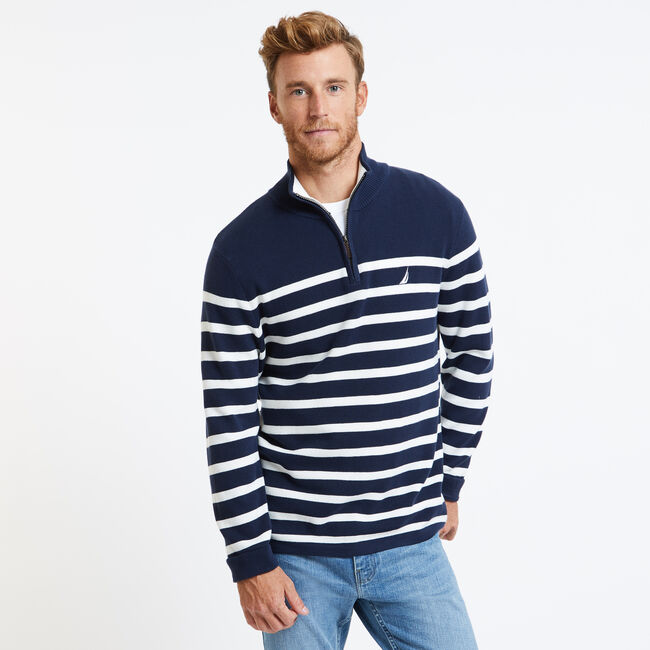 Breton Stripe Quarter-Zip Sweater,Navy,large