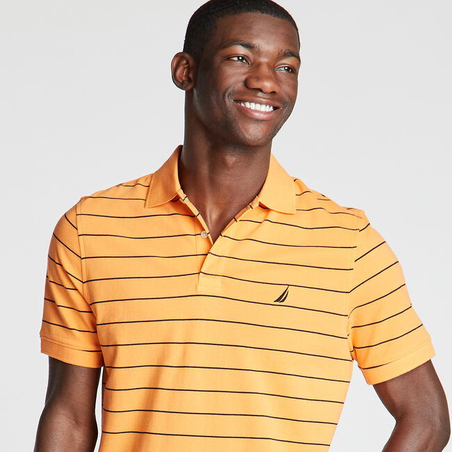 Classic Fit Mesh Polo in Breton Stripe,Suncoast Orange,large