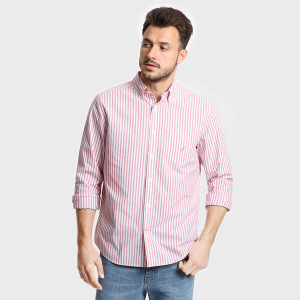 Big & Tall Classic Fit Striped Poplin Shirt - Coral Cape
