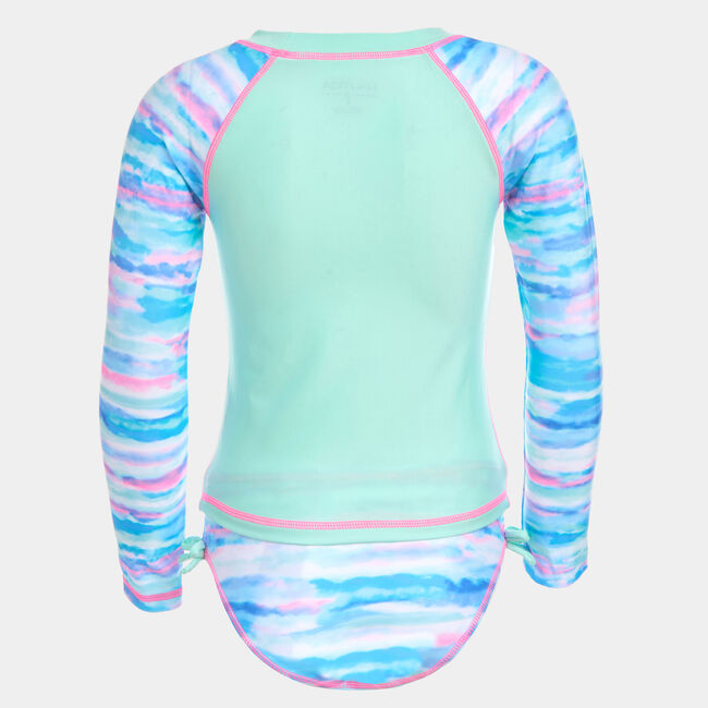 TODDLER GIRLS' WATERCOLOR PRINT RASH GUARD (2T-4T),Jade Forest Heather,large