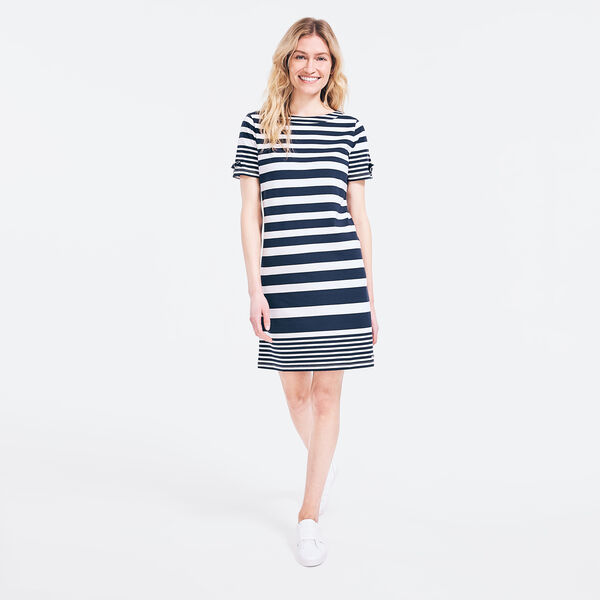 SUSTAINABLY CRAFTED STRIPED TIE-SLEEVE DRESS - Stellar Blue Heather
