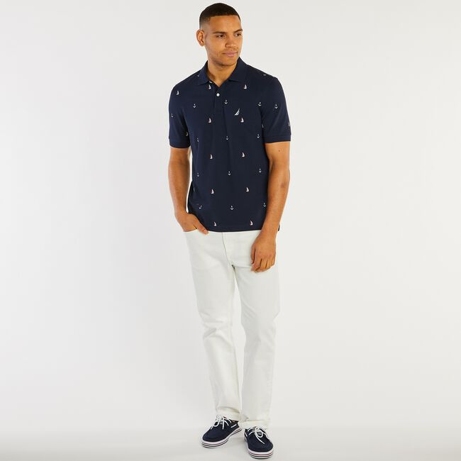 Big & Tall Anchor Print Classic Fit Deck Polo,Navy,large