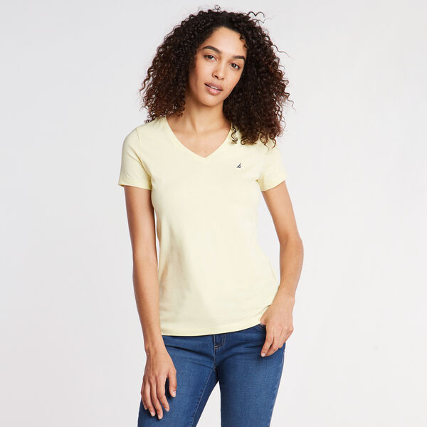 Solid V-Neck Short Sleeve T-Shirt - Light Mimosa