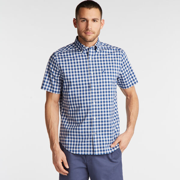 CLASSIC FIT SHORT SLEEVE WRINKLE-RESISTANT SHIRT IN PLAID - Bluefish