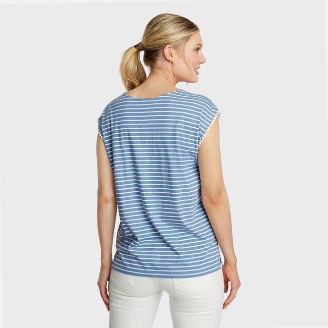 Jersey Tee in Stripe & Floral Border Print,Aquadream,large