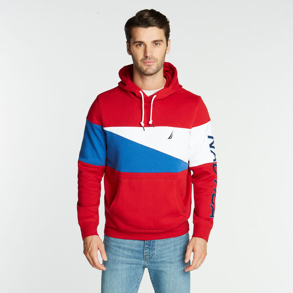 FLEECE HOODIE IN PIECED COLORBLOCK - Nautica Red