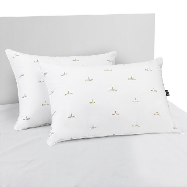 Nautica Anchor Print Standard/Queen Firm Pillows,Bright White,large
