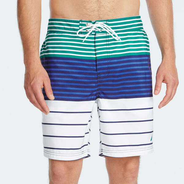 "8"" MIXED STRIPE SWIM TRUNK - Gulf Coast Teal"