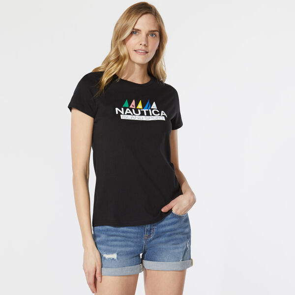 ISLAND SPORT FLAG GRAPHIC T-SHIRT - True Black