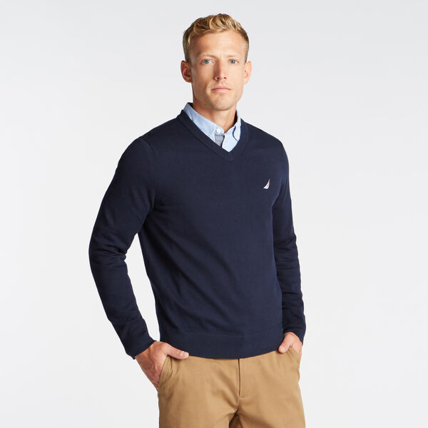 V-NECK NAVTECH SWEATER - Pure Dark Pacific Wash