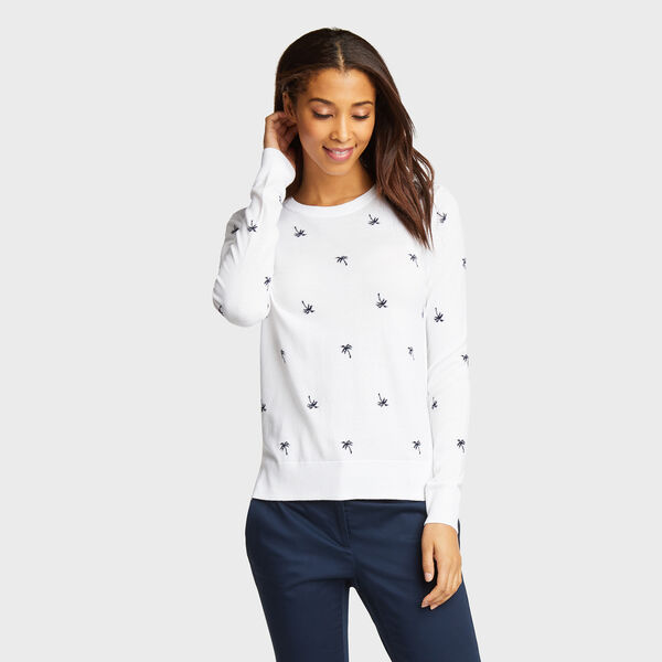 Classic Fit Cotton & Modal Sweater in Palm Pattern - Bright White