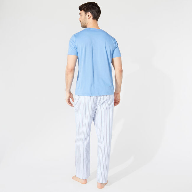 CLASSIC FIT SHORT SLEEVE STRIPED PANT PAJAMA SET,Riviera Blue,large