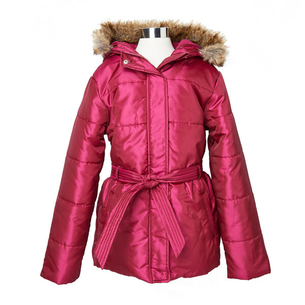 Girls' Faux Fur Hooded Coat (8-16) - Tango Red