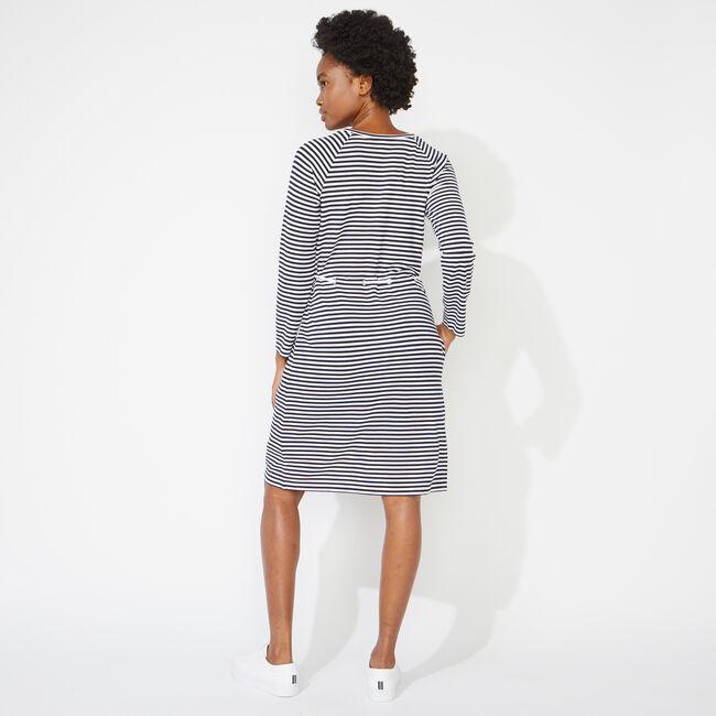 STRIPED ROPE TIE DRESS,Bright White,large