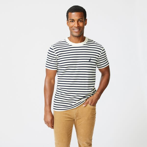 STRIPED CREWNECK T-SHIRT - Egret