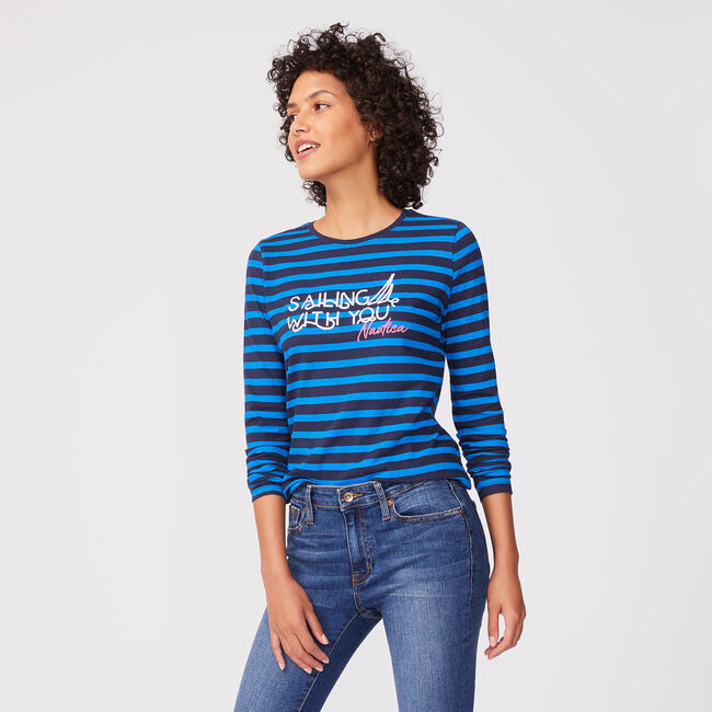 STRIPED GRAPHIC LONG SLEEVE T-SHIRT,Stellar Blue Heather,large