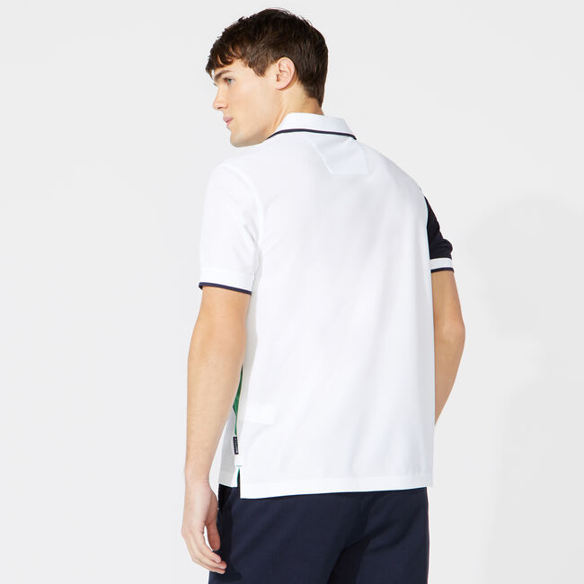 CLASSIC FIT DIAGONAL COLORBLOCK POLO,Bright White,large