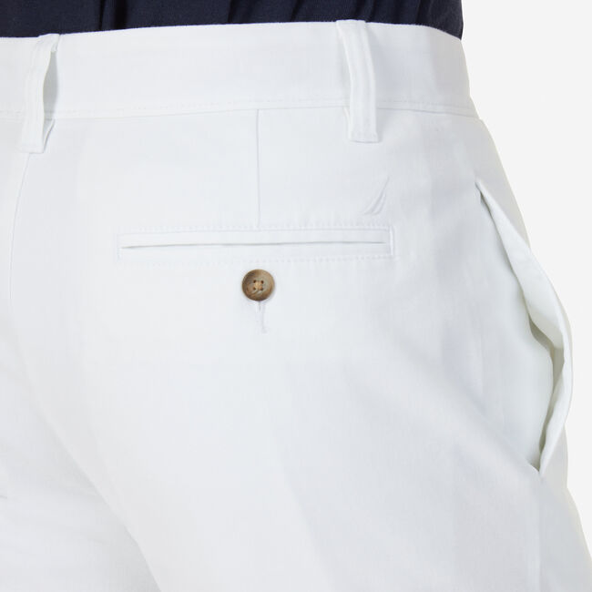 "Flat Front Slim Fit Shorts - 9.5"" Inseam,Bright White,large"