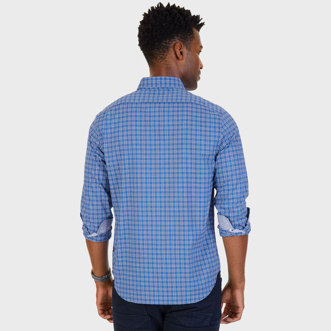 Stretch Slim Fit French Plaid Button Down,Blue Grass,large