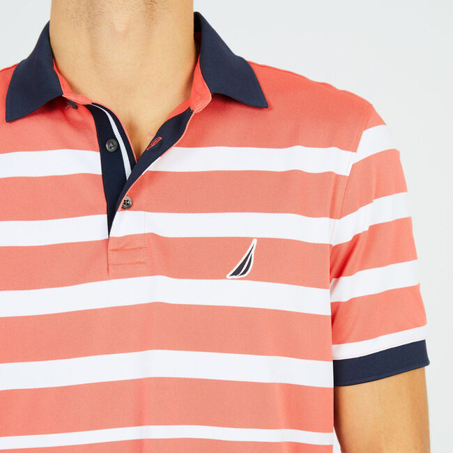 Striped Performance Polo Shirt,Dreamy Coral,large