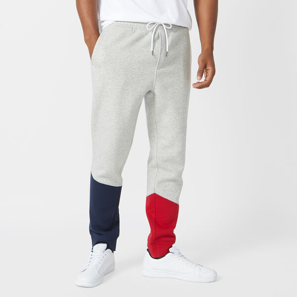 COLORBLOCK FLEECE JOGGERS - Grey Heather