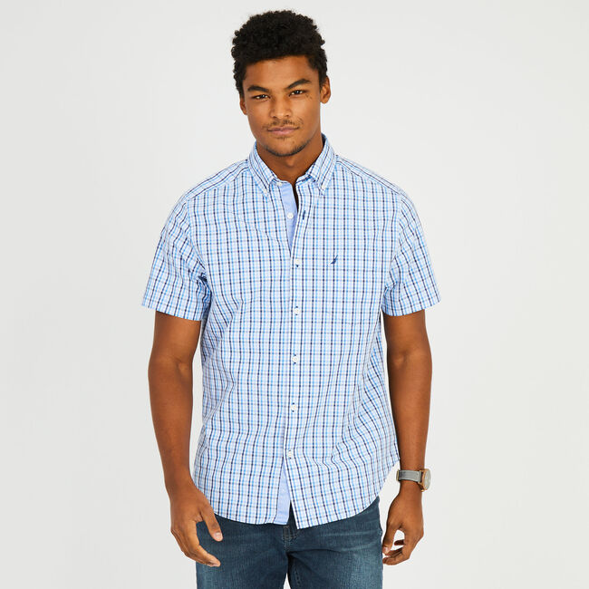 Short Sleeve Button-Down Plaid Shirt,Clear Skies Blue,large